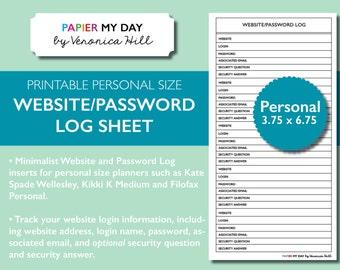 Personal Filofax Website and Password Log - Printable Website and Password Log for Filofax Personal, Kikki K Medium planners