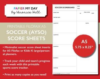 Printable A5 Filofax Soccer Score Sheet - Soccer Score Sheets for Filofax and Kikki K planners