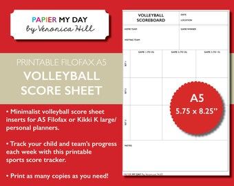 Printable A5 Filofax Volleyball Score Sheet - Volleyball Score Sheets for Filofax and Kikki K planners