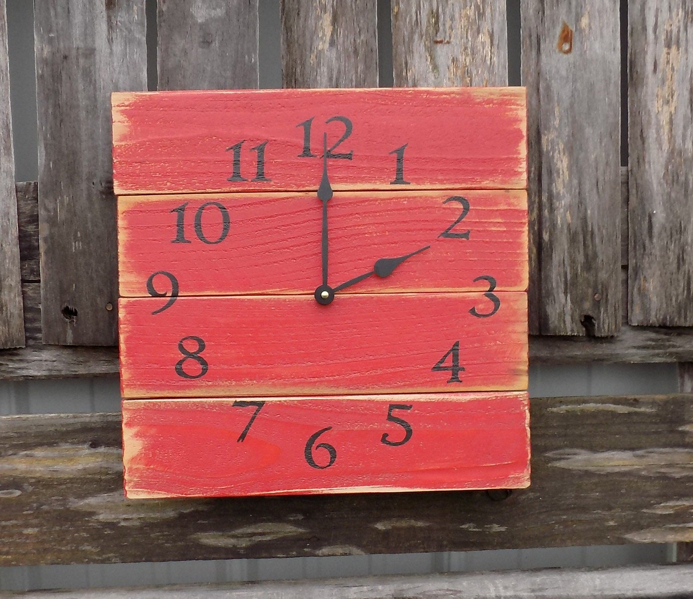 Rustic red wall clock barn clock primitive clock pallet zoom amipublicfo Image collections