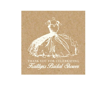 Bridal Shower Favor Tag/Sticker - 2.5x2.5 - Little White Dress - Kraft Background - Printable and Personalized