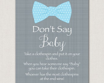 Bow Tie Chalkboard Dont Cross Your Legs Baby Shower Game