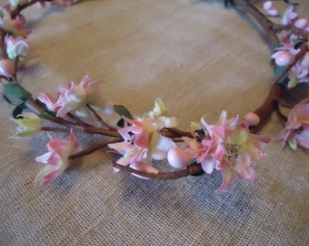 6 Pink Weeping Cherry Branches Vintage Rustic Halo Berry Supplies DIY Silk Flowers  #267A