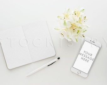 Peruvian Lilies, iPhone Desktop Styled Stock Photography, Small Business Branding, Wedding Stock Photography, Simple Elegant Stock