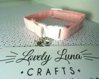 Handmade Cat Collar:  Baby pink