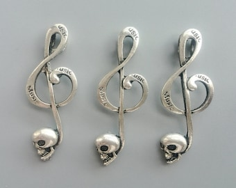 Treble Clef Note Charms Antique Silver Tone, Matte Skull Music Pendant, Jewelry Supply 17*40mm 496