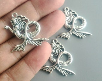 Mermaid Charms Sea-Maid Pendants Antique Silver Tone DIY Jewelry Accessories 30*29mm 723