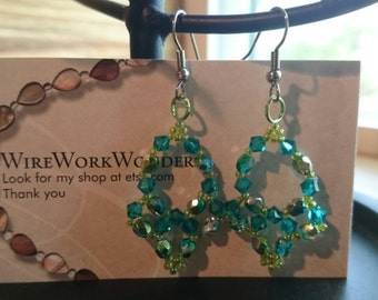 Handwoven blue and green chandelier earrings