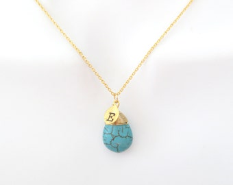 Personal, Letter, Initial, Turquoise, Stone, Drop, Gold, Silver, Necklace, Lovers, Best friends, Sister, Wedding, Gift