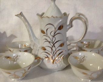 5 Piece Lefton China Coffee Pot With 4 Cups