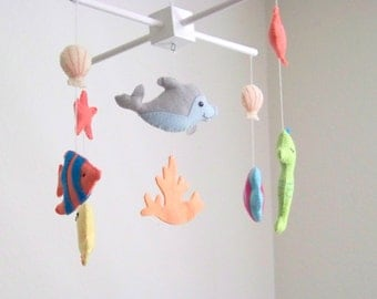 Baby mobile, ocean baby mobile, under the sea mobile, sea animal baby mobile, coral mobile, blue mobile, ocean nursery decor