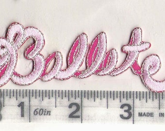 Ballet  word iron on patch in pink