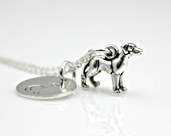 GREAT DANE INITIAL Sterling Silver Necklace *