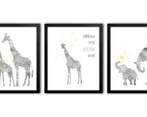 Gray And Yellow Nursery Wall Art, Watercolor Elephant Nursery Art, Giraffe Art Print - AS30