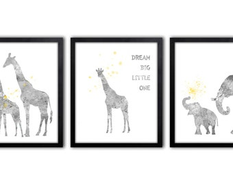 Gray And Yellow Nursery Wall Art, Watercolor Elephant Nursery Art, Giraffe Art Print - AS30