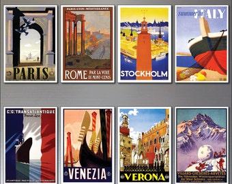 8 Vintage Travel Posters Fridge Magnets from Art Deco design - Retro repro No.4