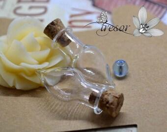 Glass Bottle Charm 30x15mm Fioles Bouteilles Verre