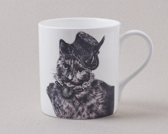 Cat In A Fascinator Mug: Fine Bone China Coffee Mug With Cat