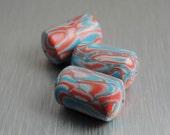 Polymer Mokume Gane Beads - Aqua and Coral Beads - Polymer Clay Cylinder Beads
