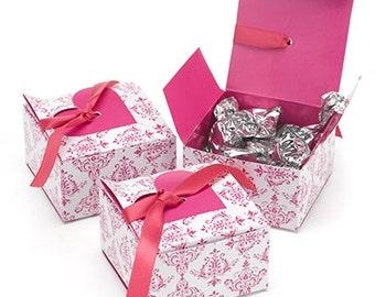 Fuchsia Damask Hot Pink Favor Boxes (Set of 25)