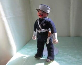 French Felt Policeman Doll 1970's