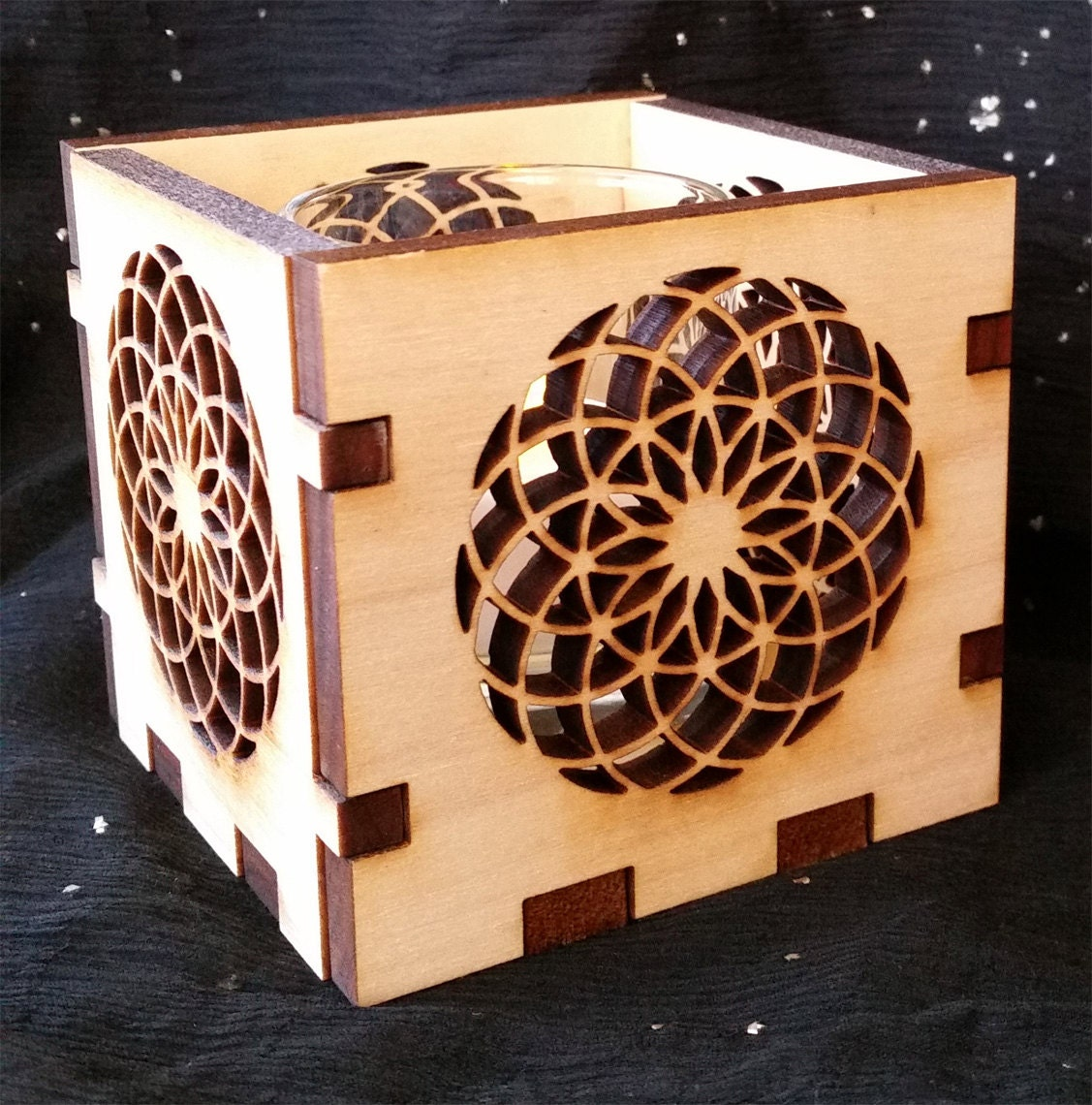 Sacred Geometry, Candle Holder, Luminary, Double, Seed of Life, meditation tool, alter centerpiece