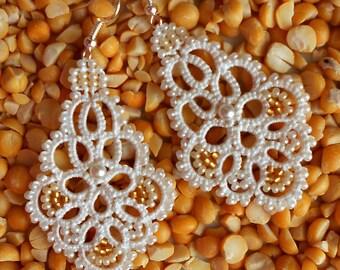 Ivory earrings, tatted earrings, wedding jewelry.