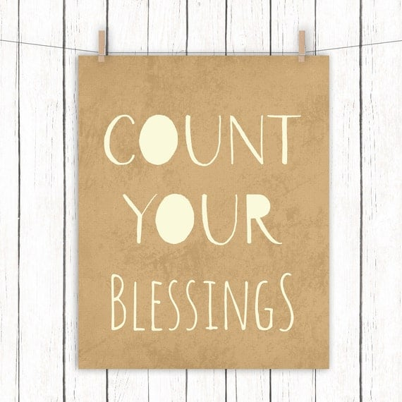 Count Your Blessings Printable Art Brown Cream Home Decor