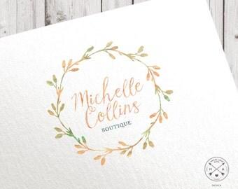 Premade logo   watercolor wreath floral   peach mint green   calligraphic logo script design photographer blogger studio shop craft branding