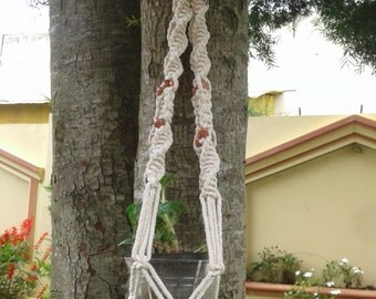 "Free  shipping - natural cotton  macrame plant hanger 37""/ pot holder / bird feeder/  hanging planter indoor/outdoor"