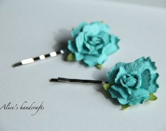 One Set of Paper flowers Bobby Pins In Blue(2 pcs). Handmade Bobby Pins. Ready to Ship