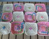 Set of 12, Granny Squares,Crocheted,7 x 7 inches,Variegated,Cream,Afghans,Lapghan,Clothing,Decorations