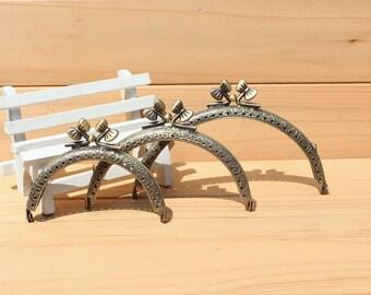 8.5/10.5/12.5cm  Retro carving antique brass purse frame bag frame coin purse frame bowknot frame handmade supplies 1pcs