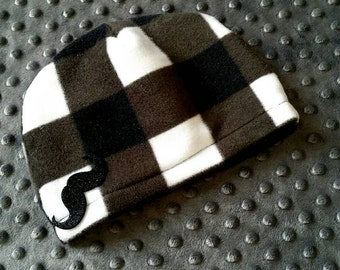 Fleece Baby Hat, Mustache Fleece Hat, Checkered Winter Hat, Plaid Toddler Hat, Fitted Baby Hat, Mustache Winter Hat, Baby Shower Gift