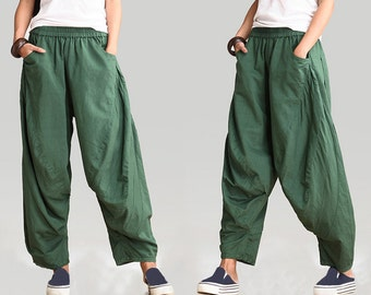 linen pants women/linen pants for women/women's wide-legged pants/green pants/black pants/women linen pants/