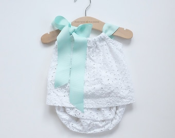6-12 Months White Lace Sun top and Bloomer/ Diaper Cover Baby Girl Set