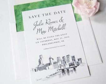 Philadelphia Skyline Save the Date Cards (set of 25 cards)