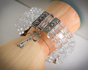 Three Strand Silver and Ice Key Charm Cuff Bracelet