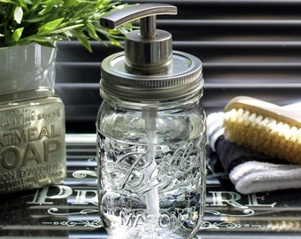 Clear Glass Ball Mason Jar Soap Dispenser with Modern Nickel Pump **UK SELLER**