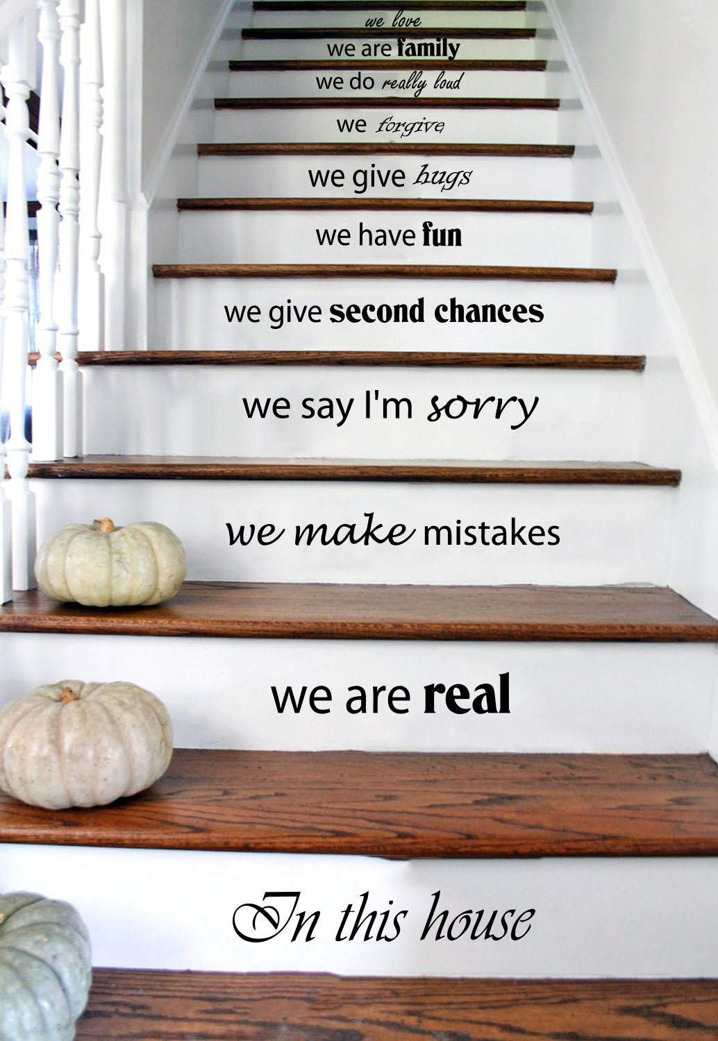 stair decals wall decals quotes in this house by trendywalldecals. Black Bedroom Furniture Sets. Home Design Ideas