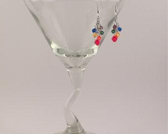 Rainbow colored Swarovski crystals cluster earrings