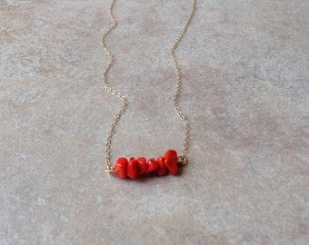 Small bead coral necklace, red coral necklace, gold dainty necklace, coastal necklace, pretty delicate necklace, minimalist jewelry