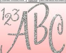 GLITTER SILVER ALPHABET Digital ClipArt: Letters, Numbers, Symbols, Printable Glitter Silver Cursive Letters, Large Alphabet Clip Art