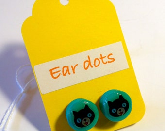 Cat Face Studs,Ear Dots, Earrings,Studs,Painted little Wood Dots,