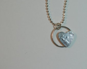 Sterling Silver Floating Heart Pendant