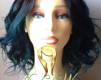 Naomi (Teal/blue lace closure ombre wig)