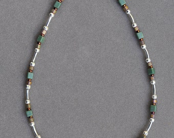 Petite Silver and Green Anklet