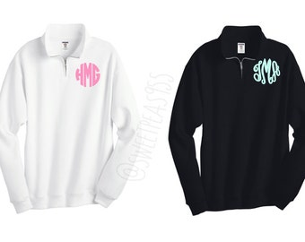 Monogram Quarter Zip, Monogram Fleece Pullover, Monogram Sweatshirt, Monogram Pullover