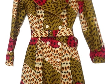 coat trench in African wax fabric