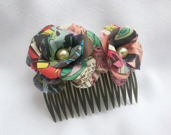 Comic Book Paper Rose Hair Comb